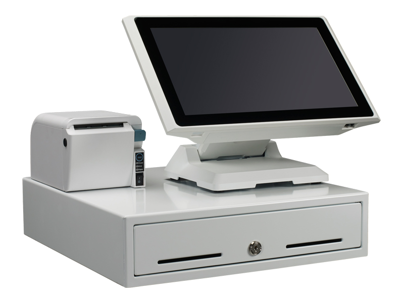 white all-in-one touchscreen pos